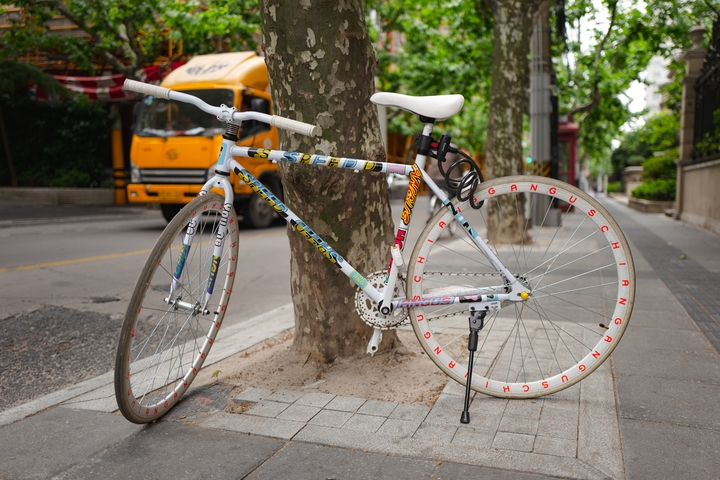 a decorated fixie on the streets of Shanghai