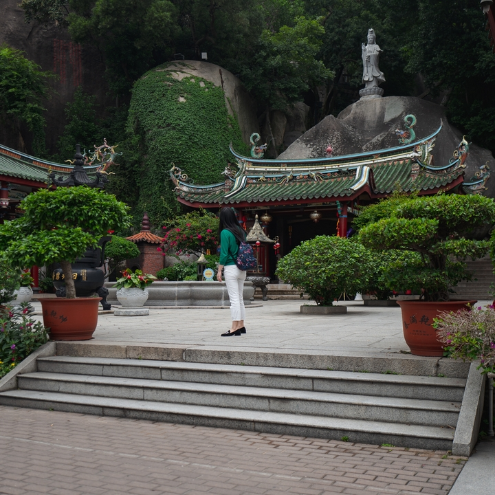 a visitor at a temple